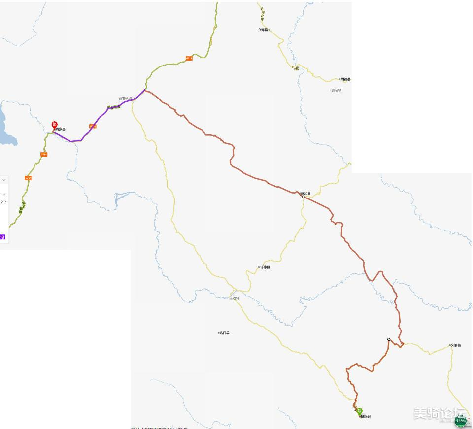 再穿过黄河至青海省果洛藏族州首府玛沁县,然后经小路从玛沁县过阿尼