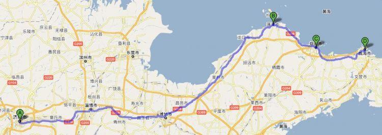 跪求2010年5月济南到威海的路线图